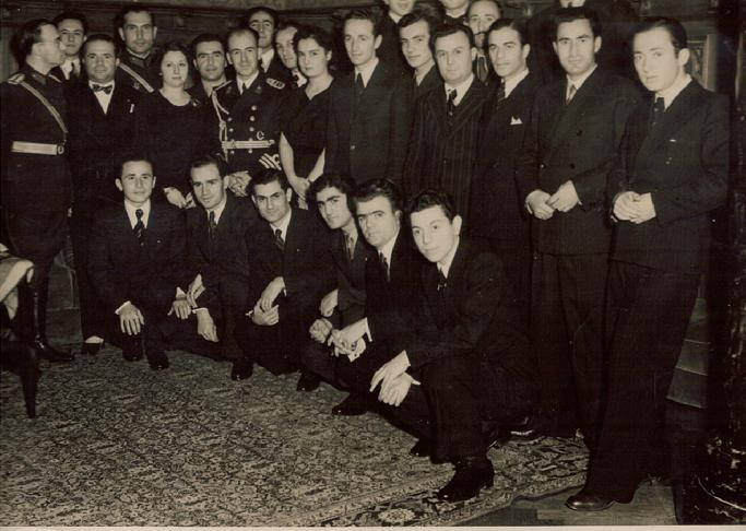 BERLIN 1937 TURKISH ATTACHE MILITAIRE WITH NAVAL STUDENTS.HAMZA OZMERAL(first row down,first on left)I